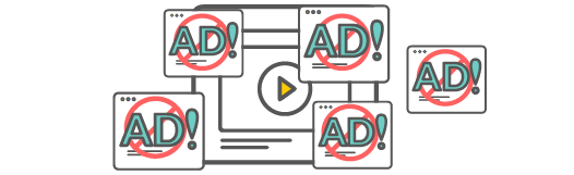 Video icon with pop up ads all over it. With white label you have complete control over what ads, if any are shown.