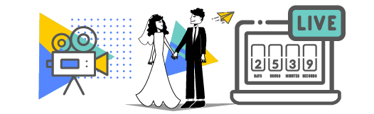 Wedding characters between a camera icon and a live stream countdown