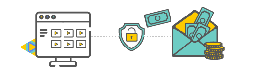 website and padlock icon leading to money in an envelope