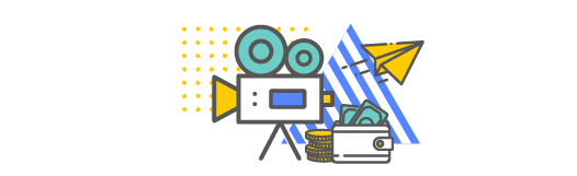 Camera icon with money around and a paper airplane