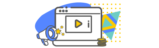 Video icon with money and a bullhorn