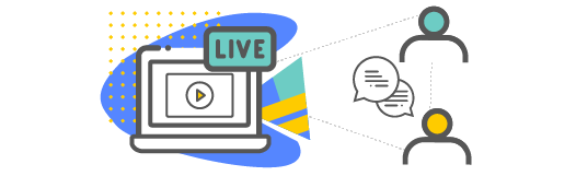 Person icons discussing virtually over a live stream