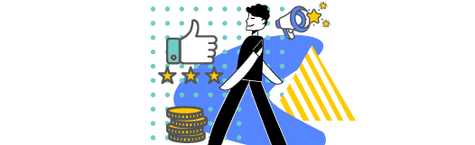 Character walking around icons of money, thumbs up and stars