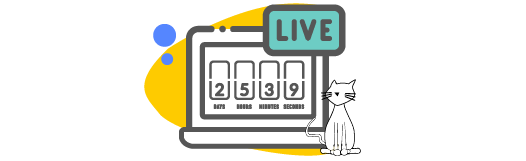 Live video countdown on a laptop
