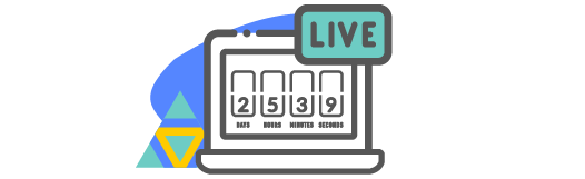 Countdown timer on a computer for a live stream