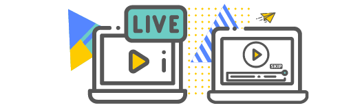 Live video stream icon and prerecorded video icon