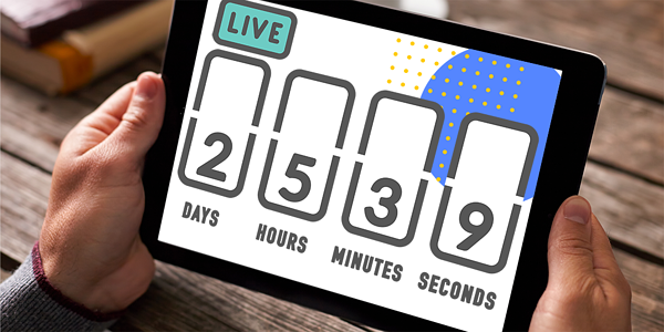 A man holding a tablet with a live stream countdown on the screen