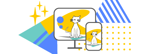 illustrated cat on a computer and mobile phone to illustrate the brand.