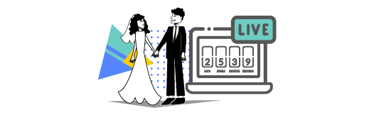 Bride and groom characters next to a live stream countdown clock