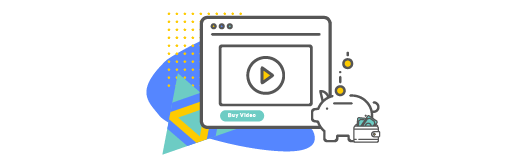 Buy video button on a video icon showing monetization