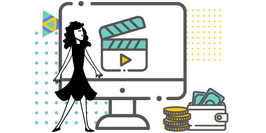 Video production icon, female character posing with money icons