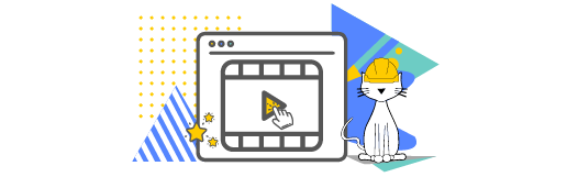 Cat character wearing a hard hat in front of a video icon