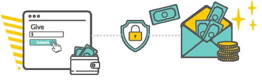 Giving window online, secure icon, money in a folder