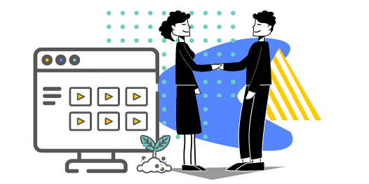 Characters shaking hands in front of a computer showing video library