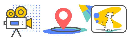 Equipment icon, location icon, talent icon