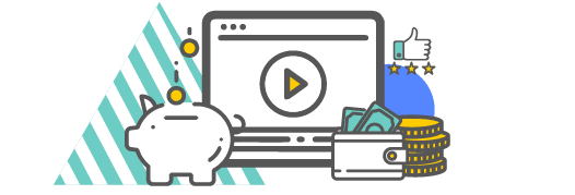 Video graphic with piggy bank and money icons around.