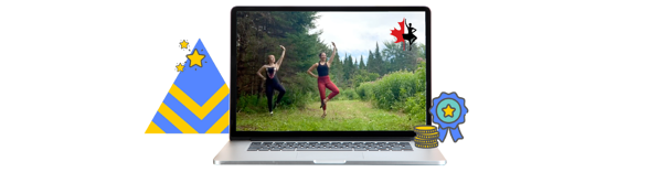 Highland dancer video playing on a laptop