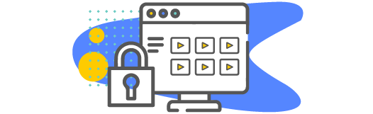 Video library icon with padlock icon. Secure platform