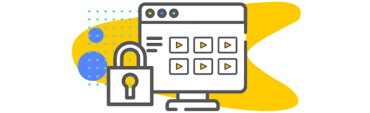 Videos on a computer with a padlock icon indicating a secure site