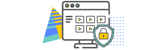 Videos on a computer with a security symbol representing a secure hosting tool