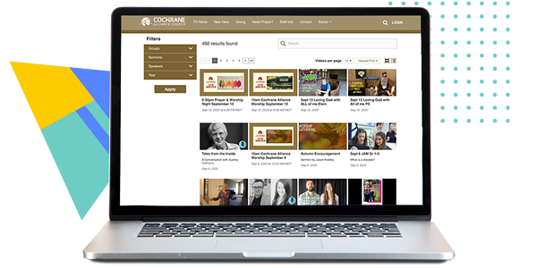 Video library on a Vidflex site. Cochrane Alliance church