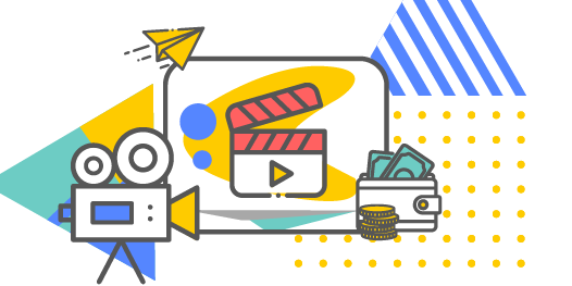 Video camera icon, clapper, paper airplane, money - elements of video production icons
