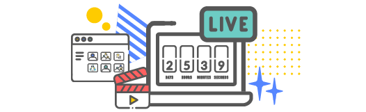 Live video countdown with video library icons
