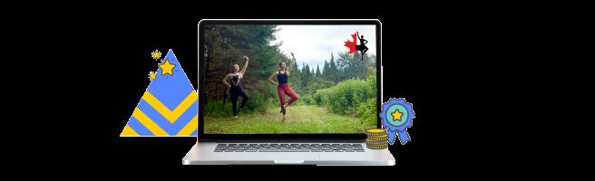 Laptop showing ScotDance's Live Fundraiser platform