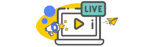 Live Stream icon with a paper airplane and a bullhorn